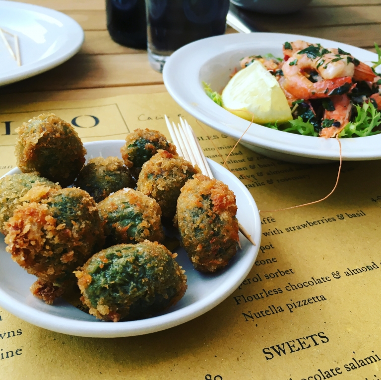 stuffed fried olives at Polpo, Exeter, pic by Stephanie Darkes, copyright exploring exeter 2017